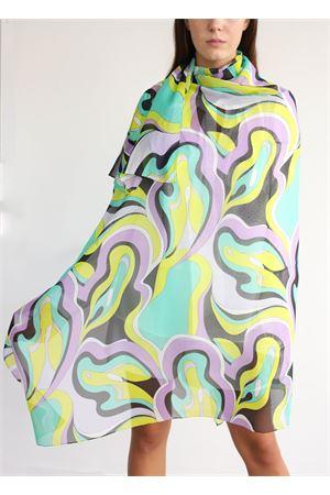 Sciarpa oversize in chiffon lilla e gialla Capri Chic | 77 | FOULARDCHIFFONNEROGREEN