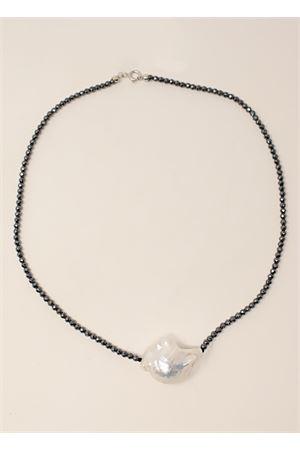 Hematite necklace with baroque pearl  Don Alfonso Gioielli | 35 | AL667BIGBAROQUE