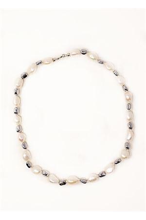 Collana corta con perle e sassi Don Alfonso Gioielli | 35 | AL750GREY