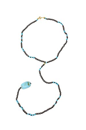 Long necklace in hematite and natural turquoise Don Alfonso Gioielli | 35 | AM498TURCH