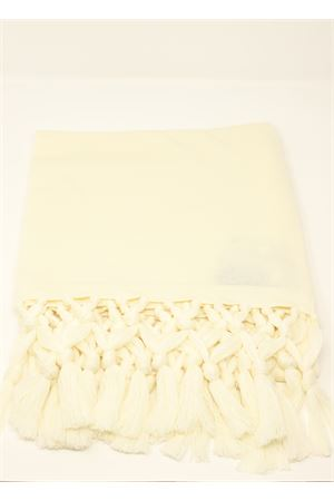 Cream wool handmade stole with fringes Art Tricot | 61 | STOLA FRANGIAPANNA