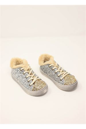 Gold and silver glittery sneakers  Baby Walker | 12 | BW05OROARGENTO