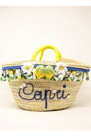straw basket with crochet lemons and flowers  Capridea | 31 | CESTACAPRILEMONSGIALLO