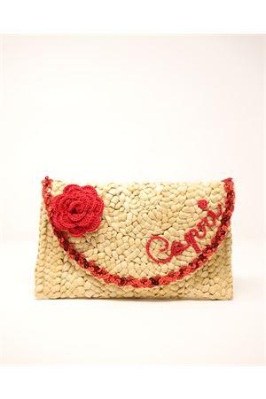 clutch in paglia con fiore e scritta personalizzabile Capridea | 31 | CLUTCHREDCAPRIFLOWERREDFLOWER