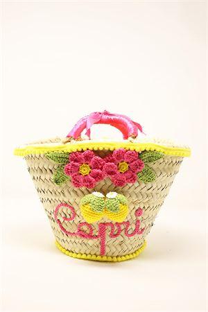 borsa in paglia da bambina decorata con fiori e limoni Capridea | 31 | BABYLEMONFLOWERSFUCSIA