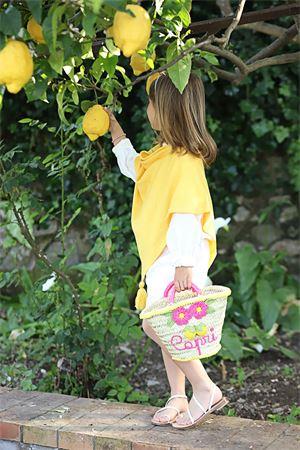 Yellow wool poncho for baby girl Capridea | 52 | PONCHONEONATAGIALLO