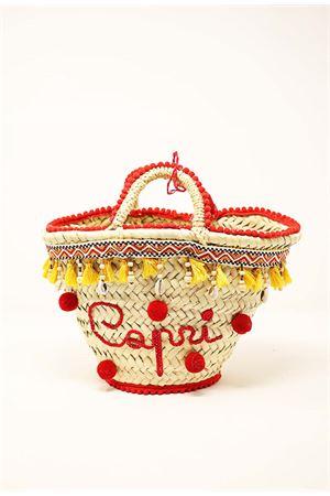 borsa da bambina in paglia stile Capri con nappine e pompon Capridea | 31 | BABYPOMPOMBAGRED