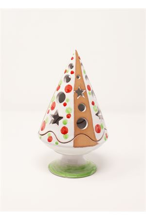 Green and red candle holder in the shape of Christmas tree Ceramicapri | 20000025 | ALBEROPIEDETRAF20ROSSO