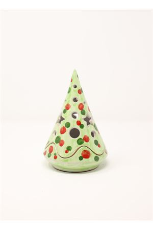 Green ceramic Candle holder in the shape of Christmas tree  Ceramicapri | 20000025 | ALBEROSCATOLAVERDE