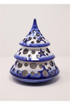 Grande portacandele a forma di albero di natale in ceramica Ceramicapri | 20000025 | ALBEROTONDOSTELLABLU