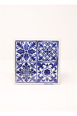 White and blue ceramic majolica tile  Ceramicapri | 20000004 | MATTONELLAMAIOLICAMAIOLICABLU