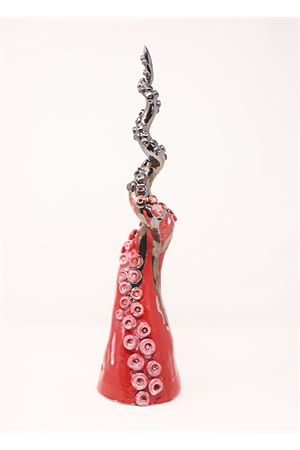 Scultura - vaso da appendere a forma di tentacolo polipo rosso Ceramicapri | 20000025 | TENTACOLOROSSO