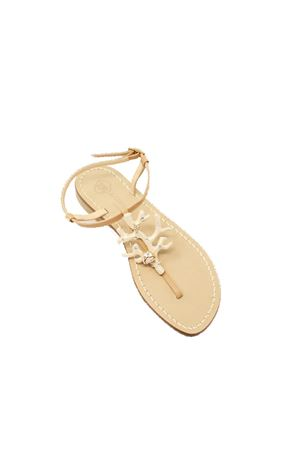 sandali gioiello con corallo e madreperla Da Costanzo | 5032256 | 1918CORALLOBEIGE