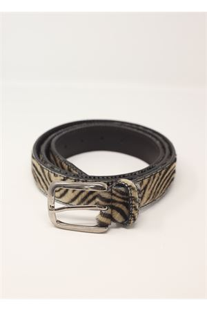 Pony hair zebrine leather belt  Da Costanzo | 22 | CAVALLINOZEBRATA