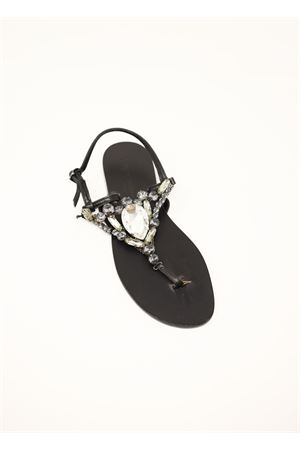 Black capri sandals with white jewel  Da Costanzo | 5032256 | S3966NERO