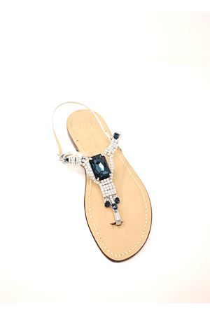 Flat sandals with blue jewel  Da Costanzo | 5032256 | S3967BLU