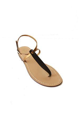 Bòack and bronze filp flop Capri sandals  Da Costanzo | 5032256 | XVNEROBRONZENEROBRONZE