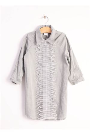 Long grey cotton shirt  Giro Quadro | 6 | GQ26GRIGIO