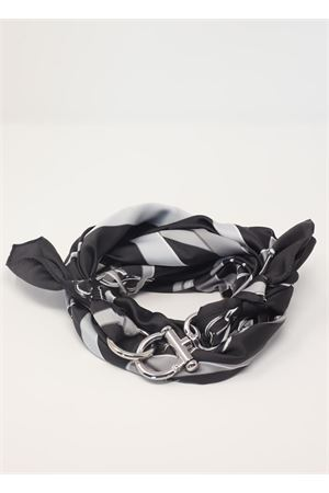 Grey and black scarf with chains pattern  Grakko Fashion | -709280361 | GRCATENEWNERO