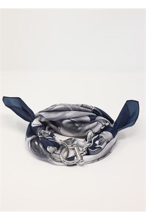 Foulard da donna con gancio fantasia fiori grigi Grakko Fashion | -709280361 | GRFIORIBLU