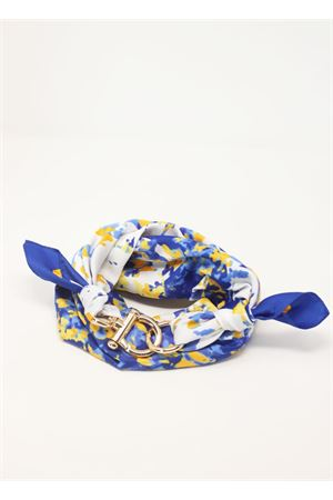 Blue and yellow scarf with decorative hook Grakko Fashion | -709280361 | GRFLOWBLU