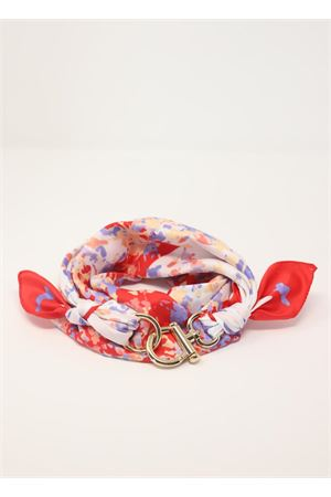 Foulard rosso con fantasia e chiusura gancio decorativo Grakko Fashion | -709280361 | GRFLOWROSSO