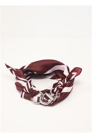 Purple and white scarf with silver hook closure Grakko Fashion | -709280361 | GRSTRIPESBORDEAUX