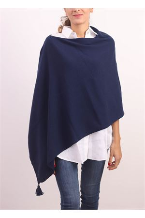 Blue cashmere, silk and wool cape with decorative pom pom  Jurta | 52 | PONCHODONNABLU