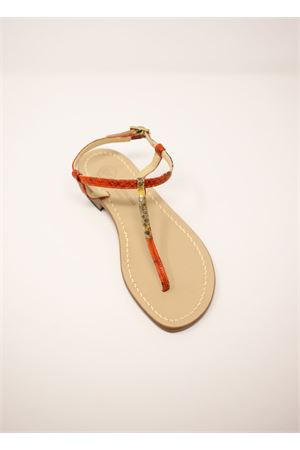 Python orange Capri sandals  Da Costanzo | 5032256 | S1918MULTIARANCIO