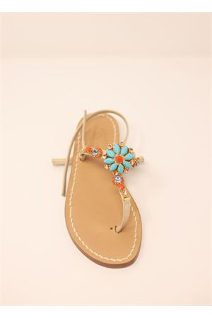 Capri jewel sandals with flower  Cuccurullo | 5032256 | FIOREAZZURROAZZURRO