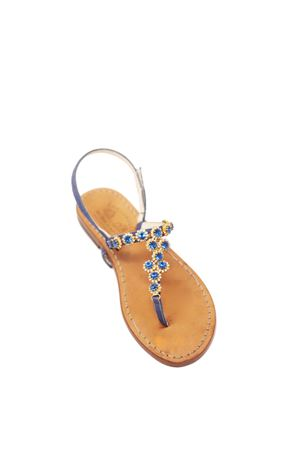 Blue and gold jewel Capri sandals form Cuccurullo shop  Cuccurullo | 5032256 | PIETREDROPBLU