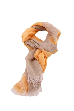 Colorful pure linen scarf Colori Di Capri | 77 | STRIPESCARFARANCIO/BEIGE