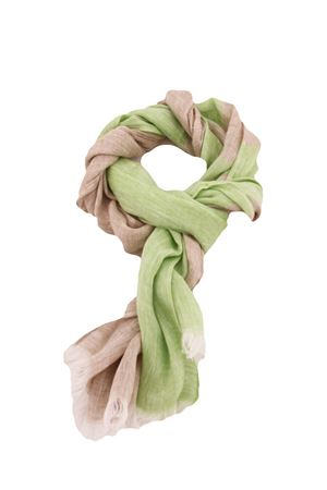 Sciarpa bicolor in puro lino Colori Di Capri | 77 | STRIPESCARFVERDE/BEIGE