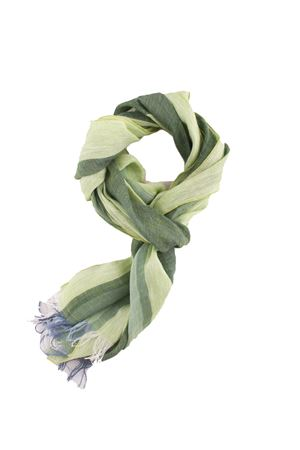 Green bicolored linen scarf Colori Di Capri | 77 | TU4STRIPESVERDE