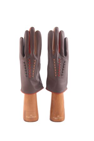 Guanti Capri gloves in pelle grigia e cuciture multicolore Capri Gloves | 34 | CA2487FOG
