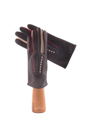 Guanti capri gloves in pelle nera e cuciture multicolore Capri Gloves | 34 | CA2487NERO
