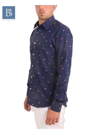Men cotton shirt Colori Di Capri   6   BUBBLES SLIMBLU