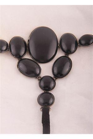 Sandali capresi con gioiello di pietre nere Da Costanzo   5032256   2438NERO