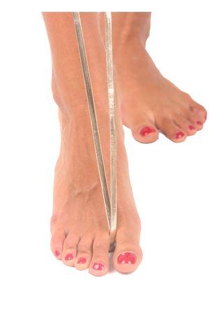 Sandali capresi artigianali con fasce in pelle intrecciata Da Costanzo | 5032256 | ANELLO TRECCIALAMINATO PLATINO