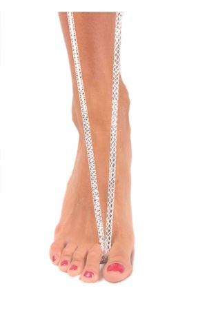 Sandali capresi artigianali con fasce in pelle intrecciata Da Costanzo | 5032256 | ANELLO TRECCIAVIPERINA ARGENTO
