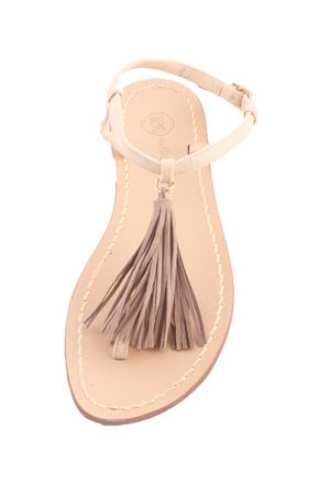 Capri sandals with grey decorative chamois tassels Da Costanzo | 5032256 | NAPPINE CAMGRIGIO