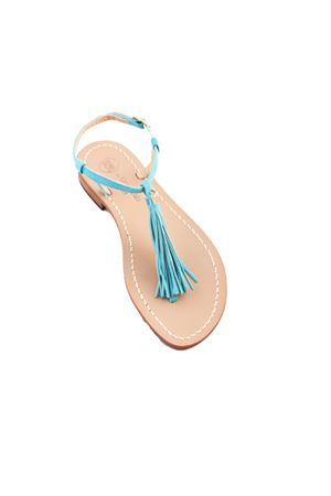 Turquoise capri sandals with decorative tassels Da Costanzo | 5032256 | NAPPINE CAMTURCHESE