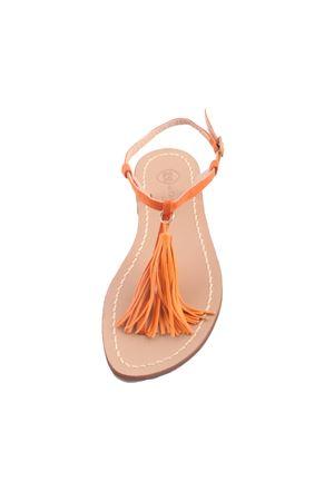 Orange Capri sandals with tassels Da Costanzo | 5032256 | NAPPINE PELLEARANCIO