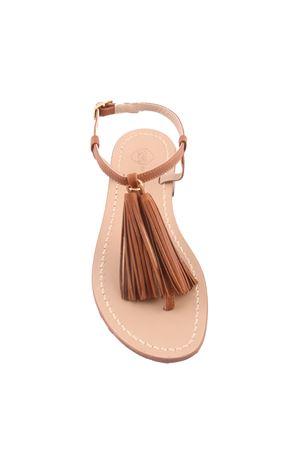brown Capri sandals with decorative tassels Da Costanzo | 5032256 | NAPPINE2 PELLEMARRONE