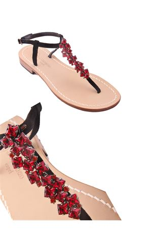 Jewel sandals with red stones Da Costanzo | 5032256 | S3076ROSSO