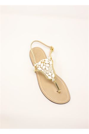 Gold jewel sandals from Da Costanzo capri shop  Da Costanzo | 5032256 | S3327BIANCO