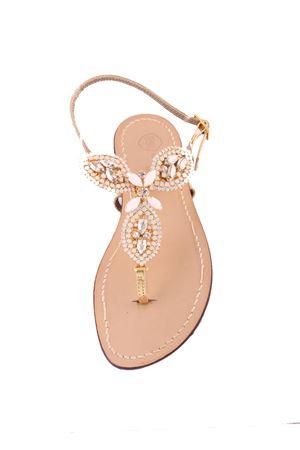 White and gold jewel sandals Da Costanzo | 5032256 | S3328BIANCO