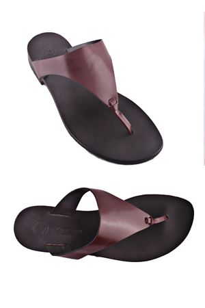 Sandalo Caprese infradito bordeau in pelle bordeaux Da Costanzo   5032256   XV2497BORDEAUX