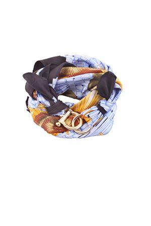 Foulard in pura seta con fantasia di girasoli e chiusura a gancio Grakko Fashion | -709280361 | GR110AZZURRO