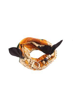 Foulard in seta di Como con fantasia di girasoli Grakko Fashion | -709280361 | GR128NERO